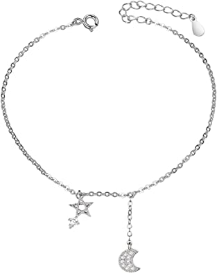 So Chic Jewels 925 Sterling Silver Elephant Anklet with Cubic Zirconia