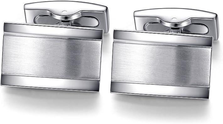 HONEY BEAR Cufflinks Tie Clip Set for Mens Rectangle Steel Business Wedding Gift