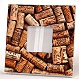 Corks Wine Bottle Wall Framed Mirror with Printed Fan Art Bar Cafe Restaurant Decor Home Design Gift