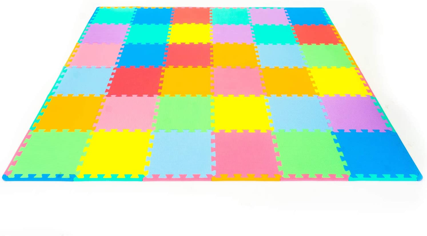 ProSource Puzzle Solid Foam Play Mat for Kids - 36 tiles with edges: Sports & Outdoors
