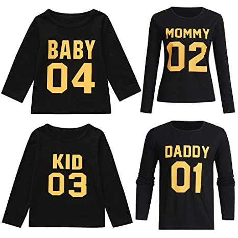 Ansenesna Familien Outfit Mutter Vater Kind Kleidung Freizeit Baumwolle Kurzarm Outfits Eltern Kind Familien Matching T-Shirt