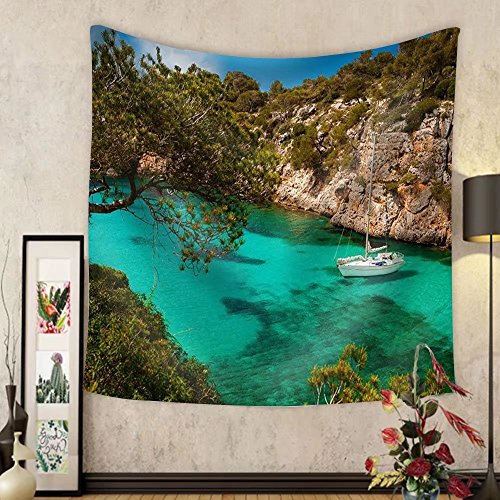 Niasjnfu Chen Custom tapestry Small Yacht Floating in Azure Sea in the Village Cala Pi Majorca Spain - Fabric Wall Tapestry Home Decor by Niasjnfu Chen