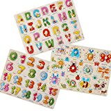 Puzzles for toddlers, Popmall Wooden Letter Puzzle with Knobs and Insect Kids Wooden Puzzles for Toddlers - Numbers, Alphabet and Insect Puzzle