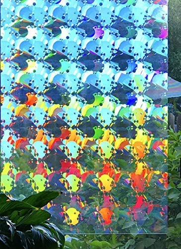 Decorative Rainbow Window Film Holographic Prismatic Etched Glass Effect – Fill Your House with Rainbow Light 23 X 36 Panel Spectra Star Pattern