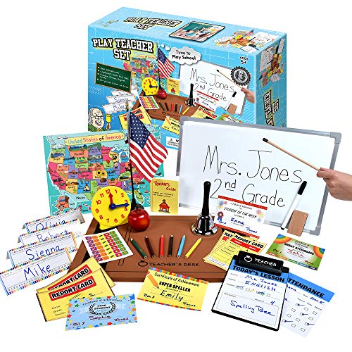 61TWN2Xde7L - Ben Franklin Toys Play Teacher Role-Play Set Includes Reusable White Board, Bell, Report Cards, for Home or Classroom