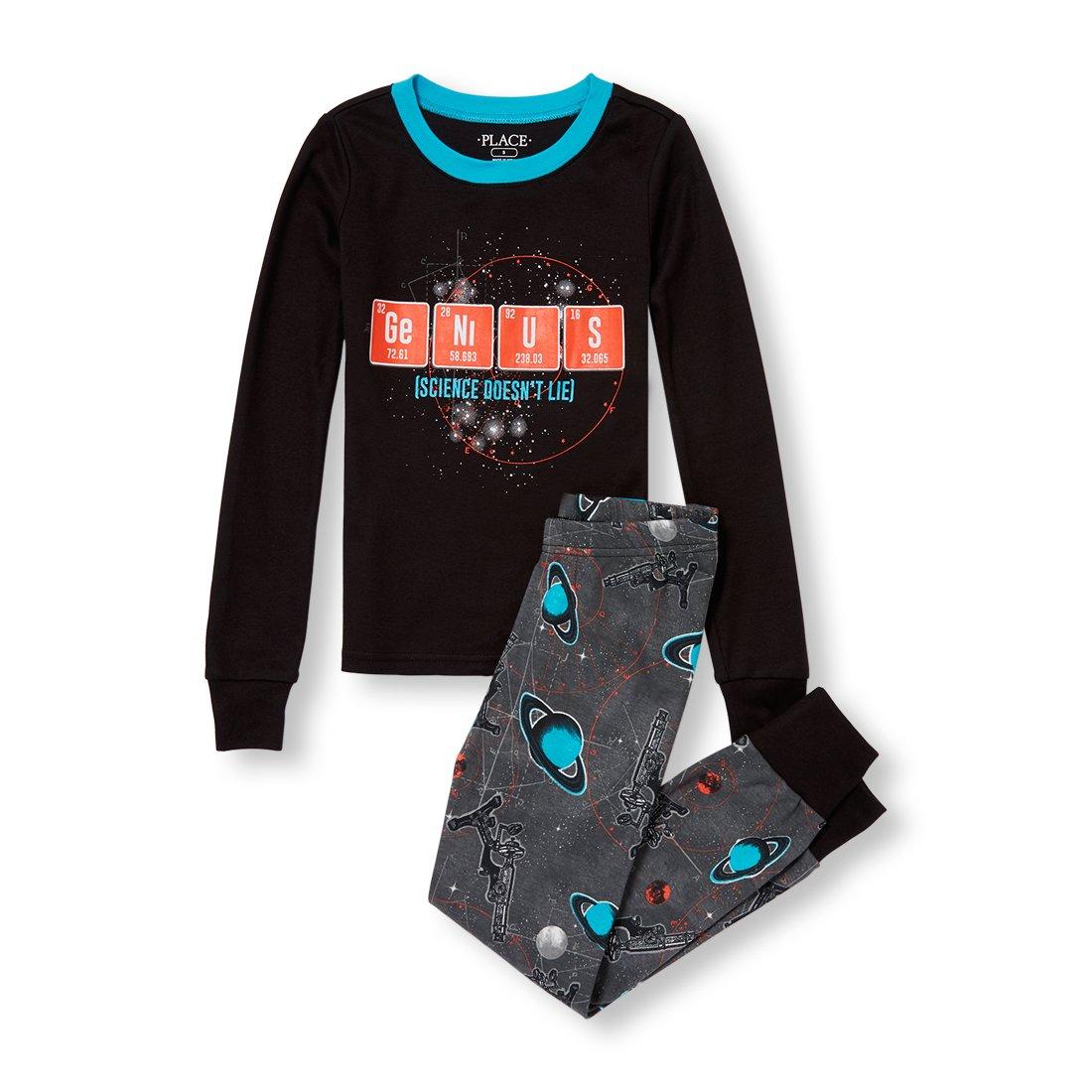 The Children's Place Big Boys' Genius Pajama Set, Black, 14