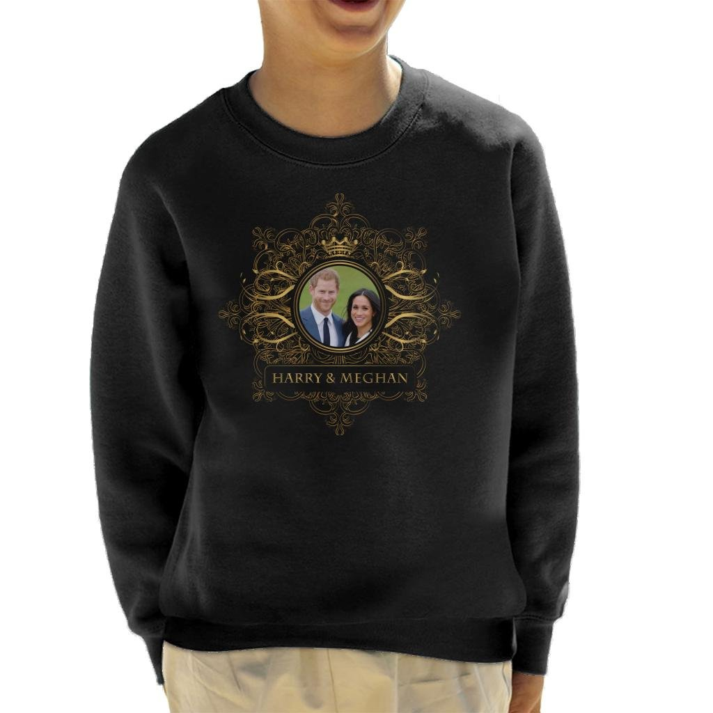 Coto7 Golden Star Frame Harry and Meghan Royal Wedding Kid's Sweatshirt