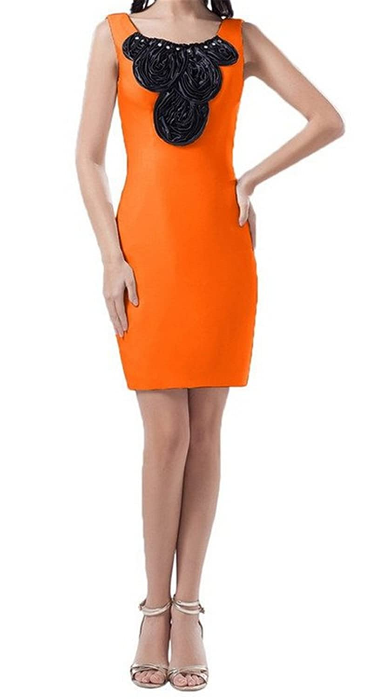 Queenworld Formal Cocktail Dress Bodycon Short Prom Gowns US-6 Orange