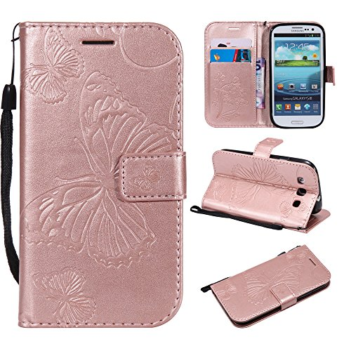 S3 Wallet Cases,IVY [3D Butterfly] Galaxy S3 PU Leather Cover Wallet Phone Case For Samsung S 3 - Rose Pink (Galaxy Cover S3 Samsung 3d Case)