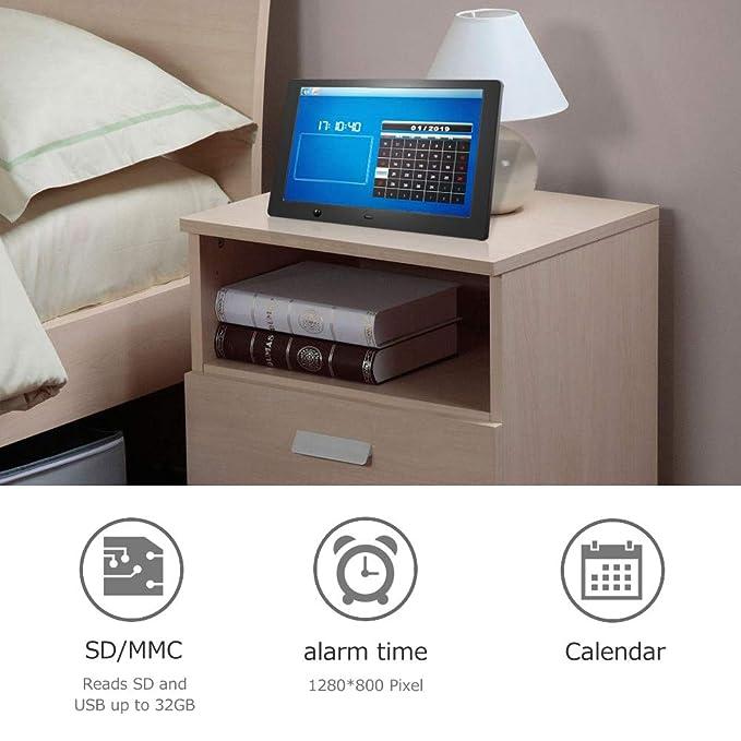 Marcos Digitales 10 Pulgadas Pantalla LCD, 1280 × 800 de Alta resolución/1080P HD portaretratos Digitales con Control Remoto, Soporte Reproductor Vídeo MP3 ...