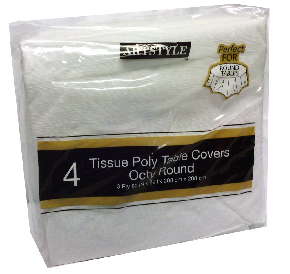 superb Round Disposable Tablecloths Part - 8: Amazon.com: Artstyle Tissue Poly Table Covers Octy Round 4 Pack: Industrial  u0026 Scientific