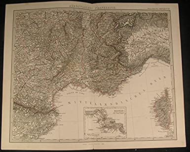 Map Of South Of France And Monaco.Southern France Monaco Gulf Of Genoa Rhone River 1869