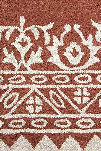 Rizzy Home Marianna Fields Collection Wool Area Rug, 9 x 12 , Rust Cream Ornamental