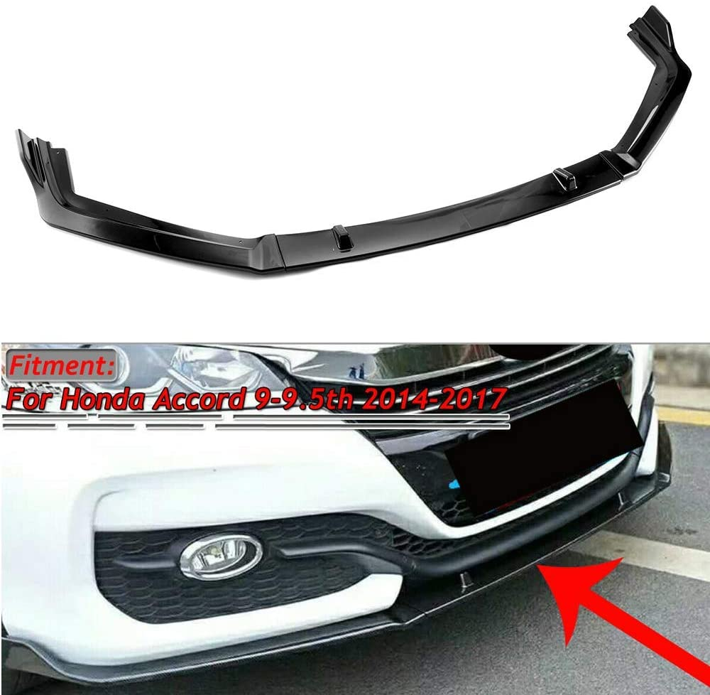 Black MotorFansClub Front Bumper Lip fit for compatible with Honda Accord 9th 9.5th 2014-2017 Splitter Trim Protection Spoiler