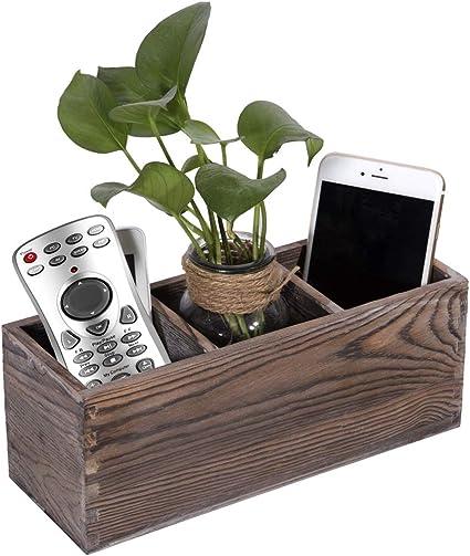 Soporte de madera para mando a distancia, organizador con 3 compartimentos, caja de almacenamiento: Amazon.es: Oficina y papelería