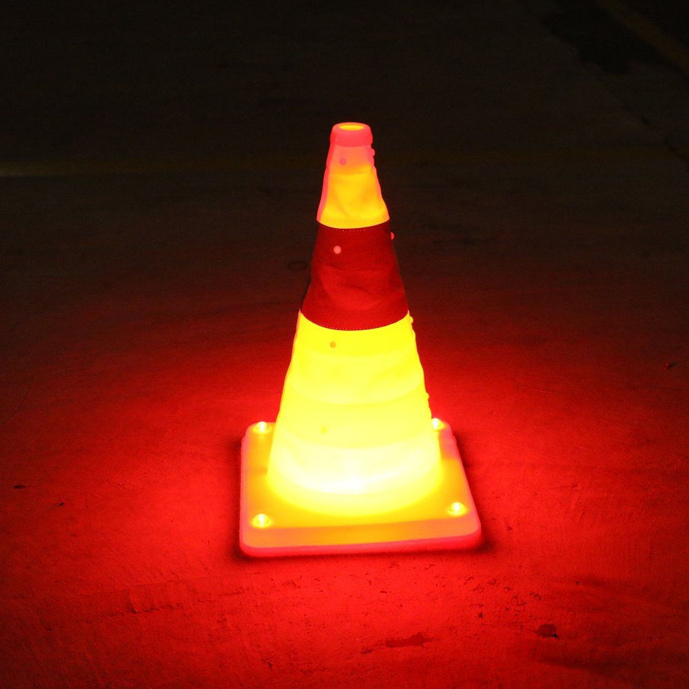 TOP YAO LED Flashing Rechargeable Collapsible Orange Traffic Cones Light 5 LED Foldable Light Road Warning Sign Strong Reflective