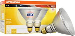 SYLVANIA 39 Watt Equivalent, PAR38 LED Light Bulb, Bright White, Made in the USA with US and Global Parts, 2 Pack