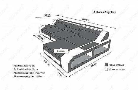 Divanova - Sofá moderno angular de piel sintética - Color gris y blanco: Amazon.es: Hogar
