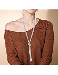 Women's Long Necklace Minimalist Lariat Pendant Necklace...