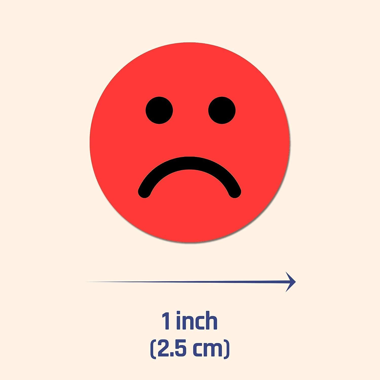 2,5cm Felice//Triste Smiley Adesivi Etichetta Rosso 1200 Pezzi Verde Giallo