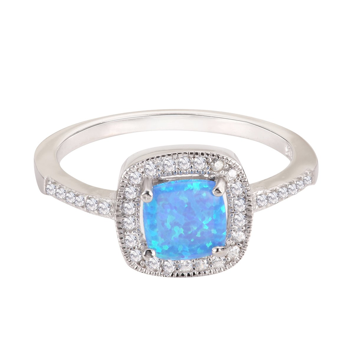 CloseoutWarehouse Blue Simulated Opal Princess Halo Ring Sterling Silver Size 6 by CloseoutWarehouse (Image #4)