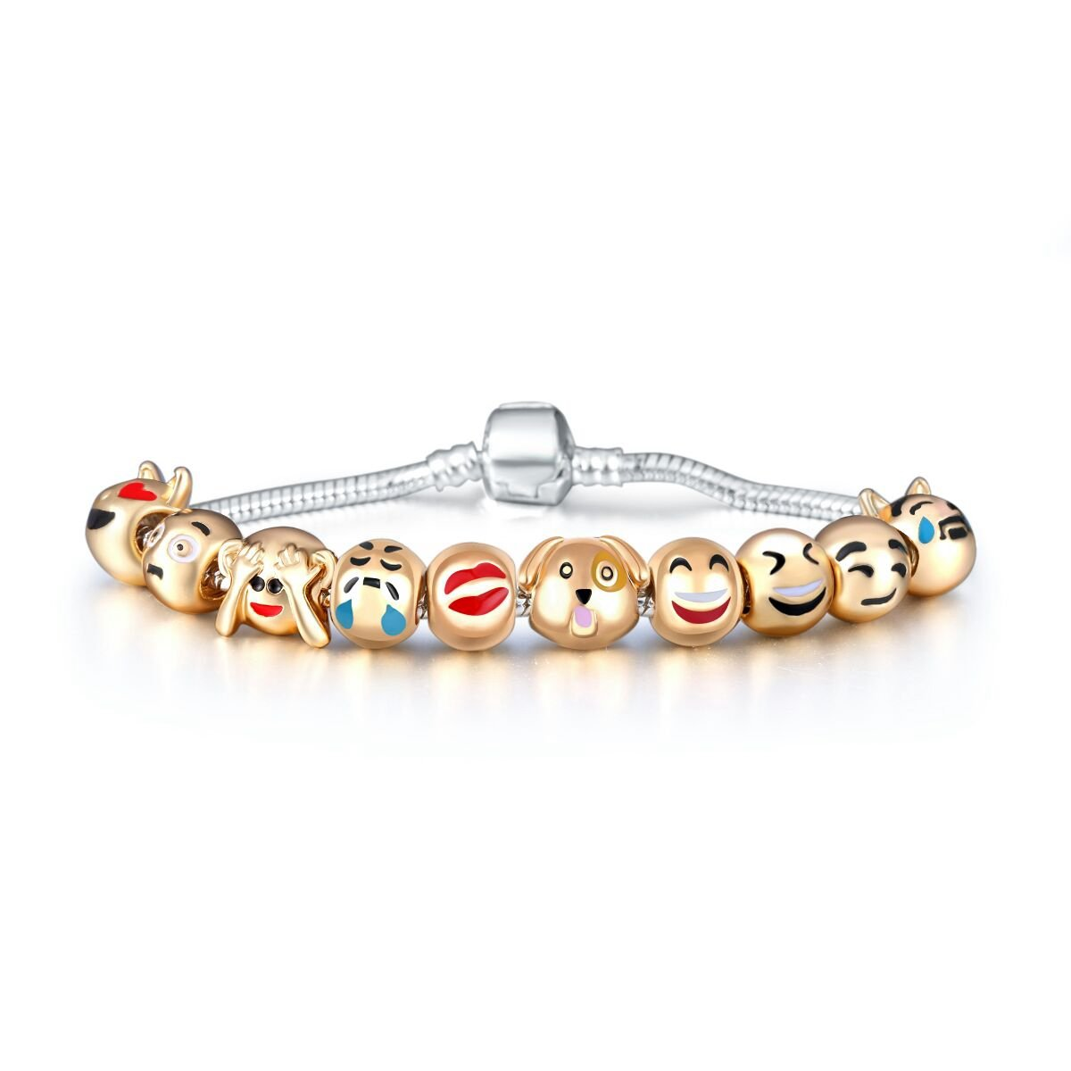 Eccosa Cute Animals Faces Charms Bracelet for Girls 18K Gold Plated Emoji Faces Beads bracelets PB347-19c