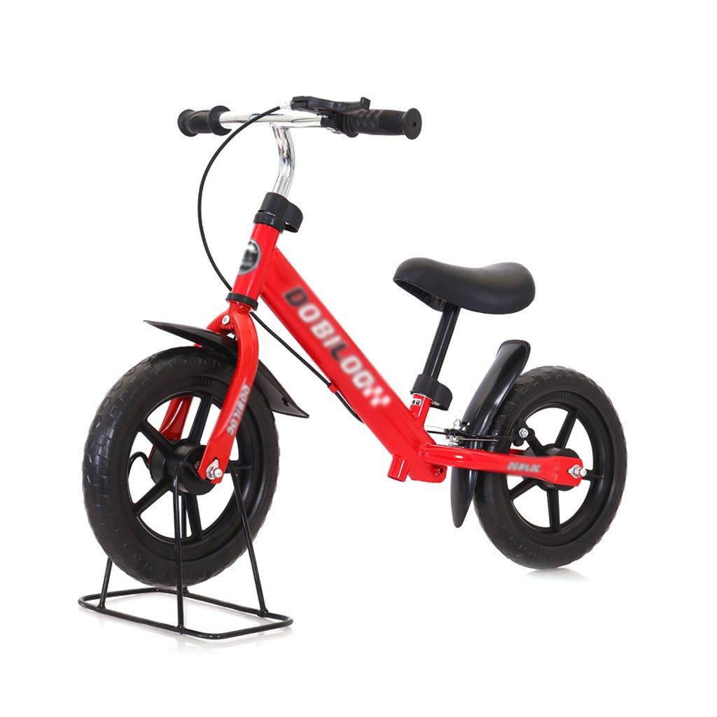 バランスの車ペダルがない子供のスクーターを膨らませる必要はないバギー子供ダブルホイール自転車子供スクーターブレーキ付き2ラウンドウォーカー12インチ2-6歳 B07F5FCNGQRed