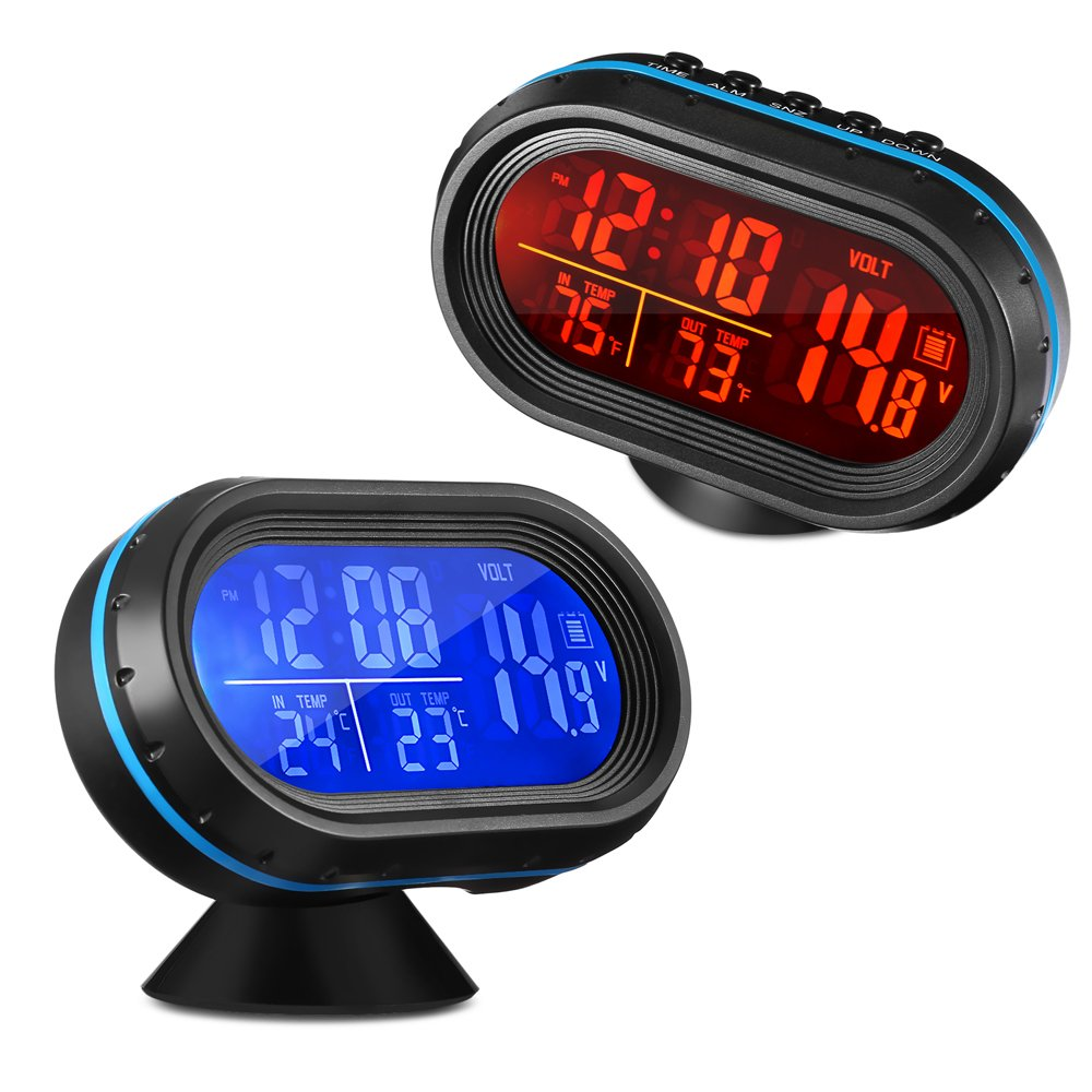 AUTOLOVER 4 In 1 Digital Car Thermometer Voltage Meter Luminous Clock Tester Detector LCD Monitor Back light with Freeze Alert 163265501-HSX 1 pcs