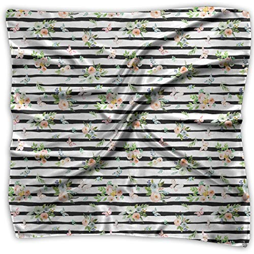 Polyester MultiColored Bandana Two Sizes, Unisex Head And Neck Tie - Spring Time Bunny Florals Black White Stripes