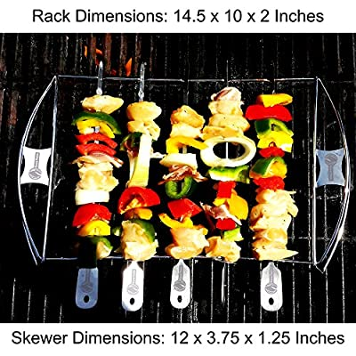 Burger Press + Barbecue Skewer Shish Kabob Set - BBQ Kebab Rack Maker for Meat & Vegetable - Portable Stainless Steel Kabab Stick for Cooking on Gas or Charcoal Grill by Cave Tools