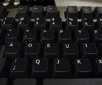Qwerty Keys Dvorak Negro Pegatinas con Letras Blancas adecuados para Cualquier Teclado