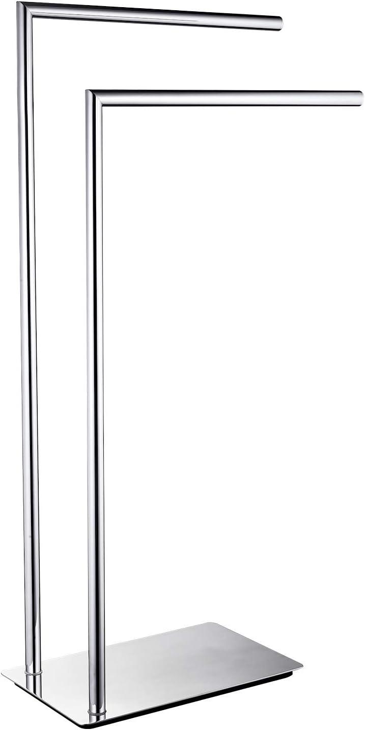 Langpai Freestanding Double Towel Racks Bathroom Accessories Towel Holder Stand On Floor Brass Chrome Home Kitchen