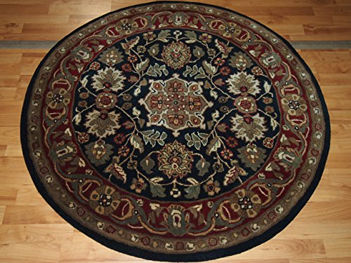 4' X 4' Medallion Decorative Kashan Black Round Wool (Gold Medallion Kashan Rug)