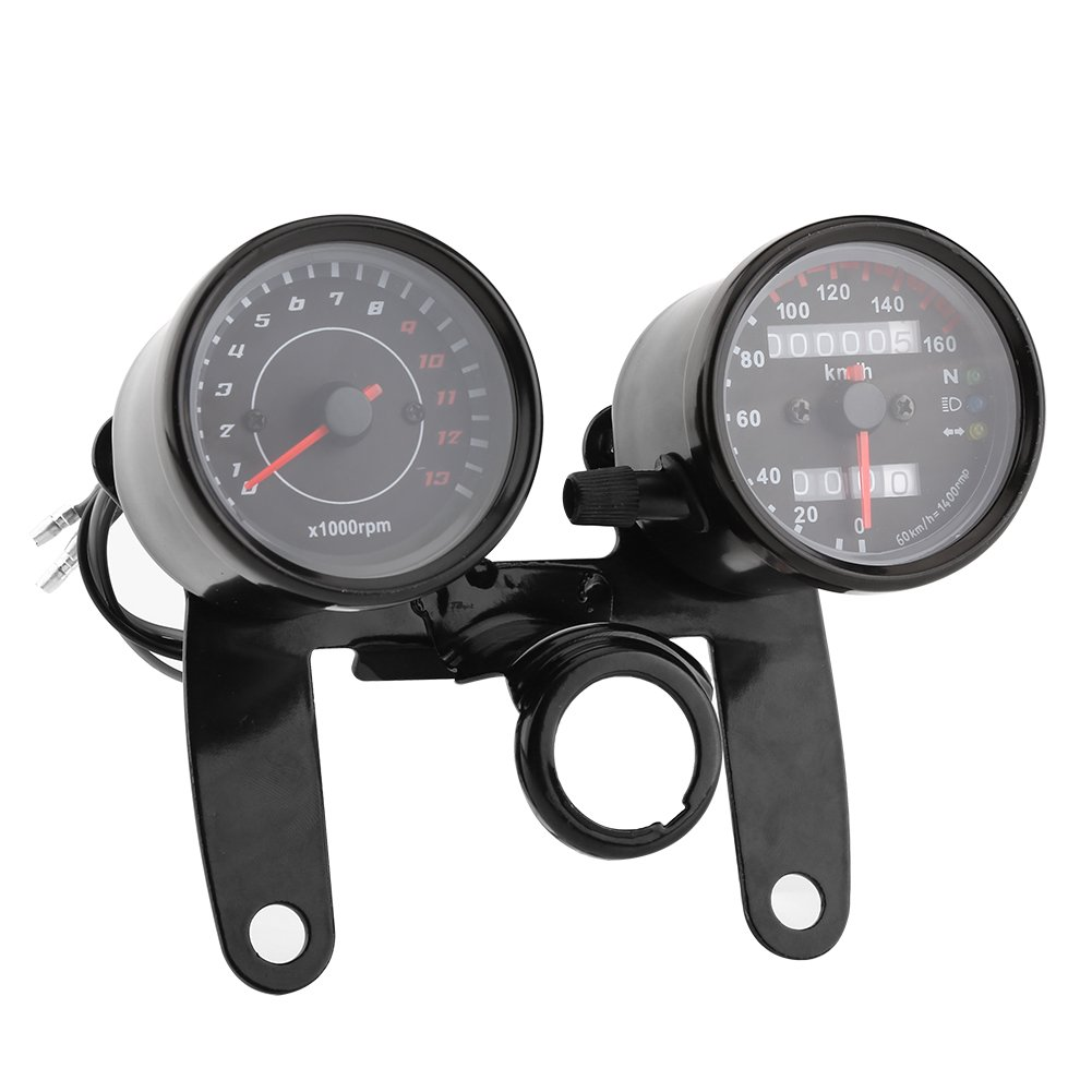 Qiilu 12V Odometer Tachometer Km//h Speedometer Gauge 13000 RPM Dual Display for Motorcycle ATV Scooter with Bracket