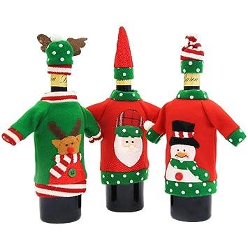 Gudotra 3pcs Botellas Bolsas de Navidad Vino Tinto Tela con ...