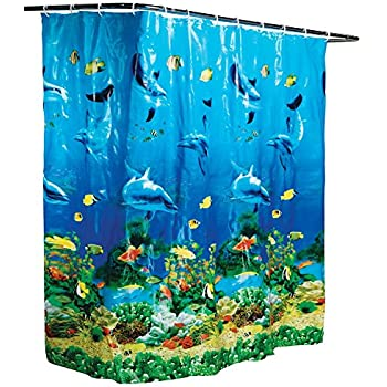 Sea seabed fish corals underwater ocean for Tropical fish shower curtain