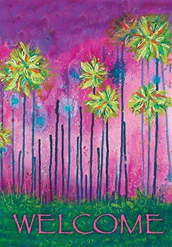 West Palm Florida - Toland Home Garden Somewhere Key West 12.5 x 18 Inch Decorative Colorful Welcome Florida Palm Tree Garden Flag