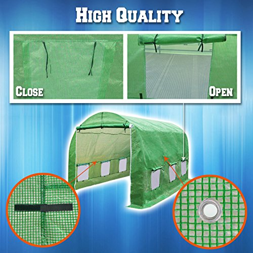 BenefitUSA Replacement Cover Canopy for Hot Green House 12'X7'X7' Larger Walk In Outdoor Plant Gardening Greenhouse Plant Protector (FRAME not Include) by BenefitUSA