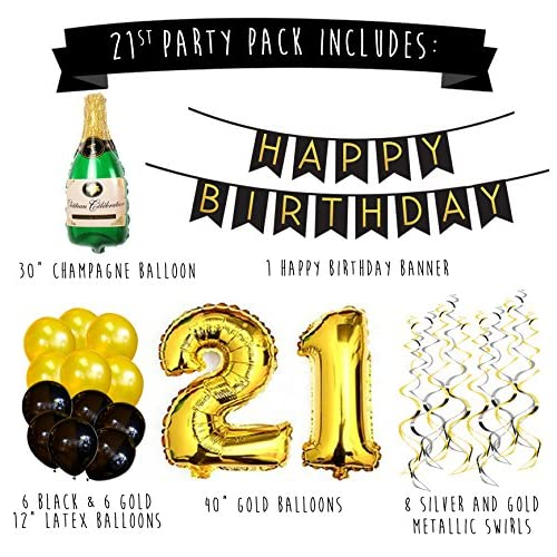 21st Birthday Party Pack Black Gold Happy Bunting Poms And Swirls