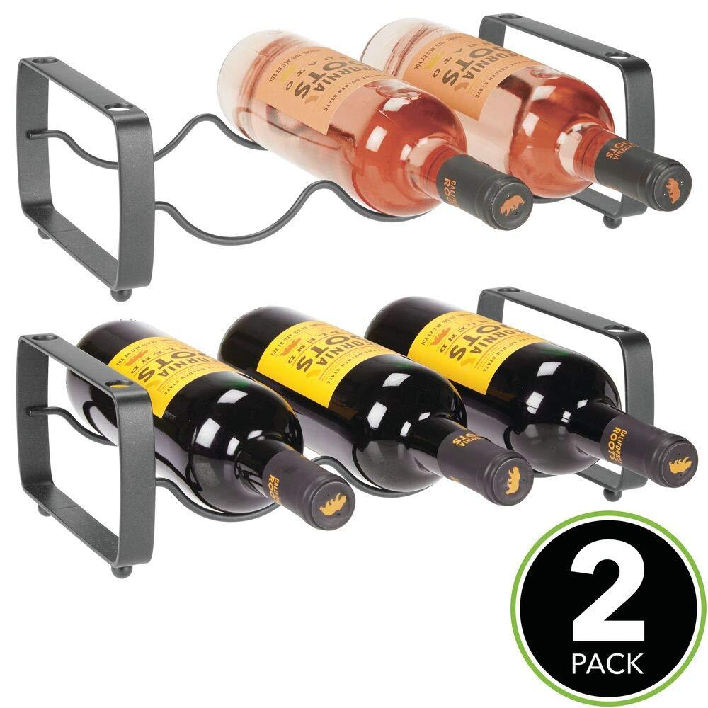 mDesign Juego de 2 botelleros apilables gris oscuro Mueble vinoteca manejable para botellas de vino u otras bebidas Estante para vino de metal con capacidad para 3 botellas