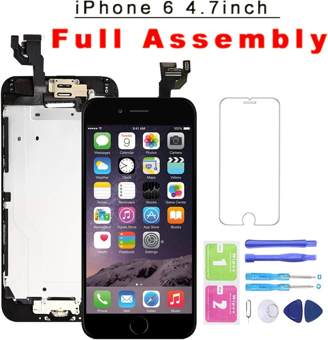 for iPhone 6 Black Screen Replacement with Home Button 4.7 Inch LCD Display Full Assembly Touch Digitizer + Front Camera + Proximity Sensor + Earpiece and Screen Protector,for Model A1586 A1549 A1589
