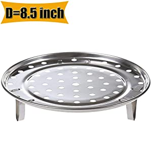 "Round Stainless Steel Rack Inch Diameter Steaming Rack Stand Canner Canning Racks Steamer Stock Pot Steaming Tray Pressure Cooker Cooking Toast Bread Salad Baking (D=8.5"")"