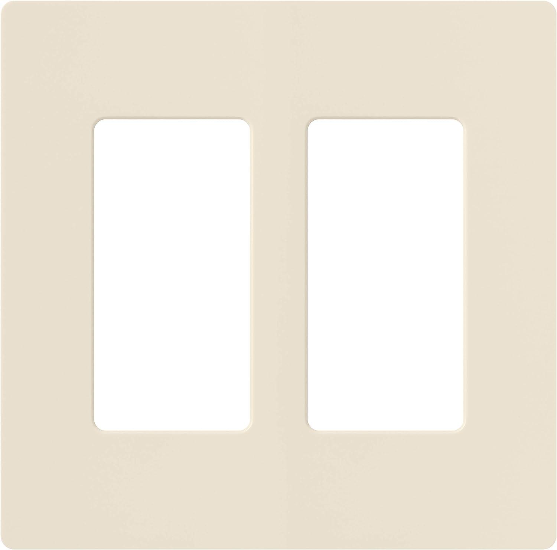 Lutron Claro 2 Gang Decorator Wallplate, CW-2-LA, Light Almond