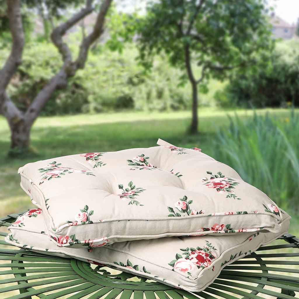 Set of 6 Floral Seat Pads Tie-On Chair Cushions Dibor