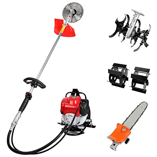 Robbey Gas String Trimmer 4-Cycle Grass Cutter Machine Gas Powered 4 in 1 Lawn Mower Trimming Tool Brush Cutter, Pole Saw for Tree Trimming