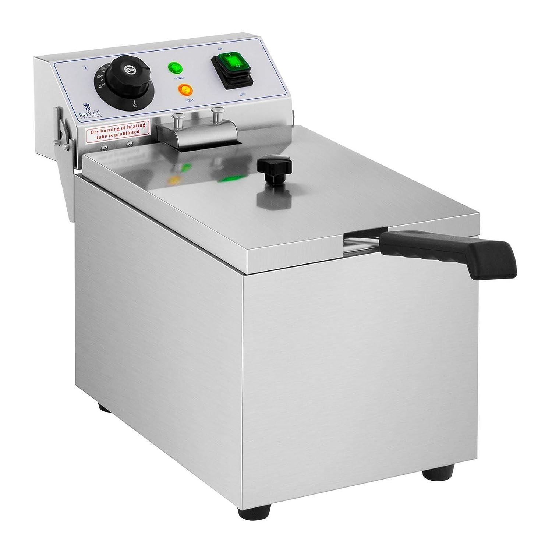 Royal Catering Freidora Electrica Profesional Para Hostelería RCEF 08EB (8 Litros, Potencia 3.200 Watt, Temperatura: 50 - 200 °C, Zona Fría, Tapa Incluida): ...