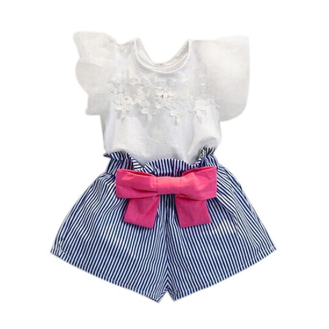 FAMILIZO Blusas de Niñas, Bebés Niñas Camiseta De Encaje De Encaje + Pantalones Rayados Set