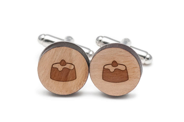 Shortcake Cufflinks, Wood Cufflinks Hand Made In The Usa