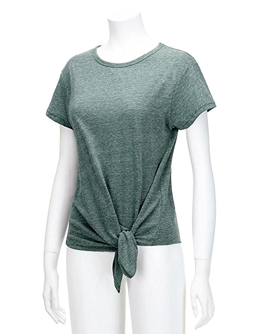 T Shirts for Womens, FORUU Casual Short Sleeve Solid O Neck Knot Blouse Tops Tee at Amazon Womens Clothing store: