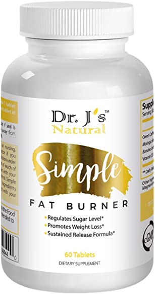 Dr J s Natural Simple Fat Burner Capsules for Women and Men Lose Weight Fast with Appetite Suppressant, Metabolism Support, Endurance Energy Booster Diet Pills 60ct